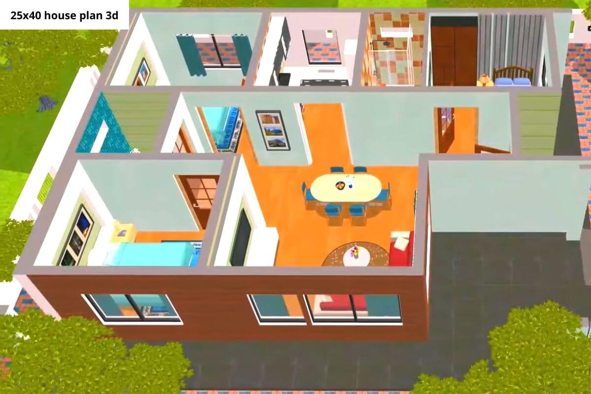 25x40 house plan 3d