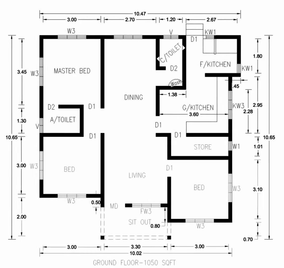 3-bedroom-outline-design-in-1050-sqft