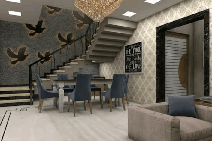 dinner hall design by ZIRCON INTERIORS