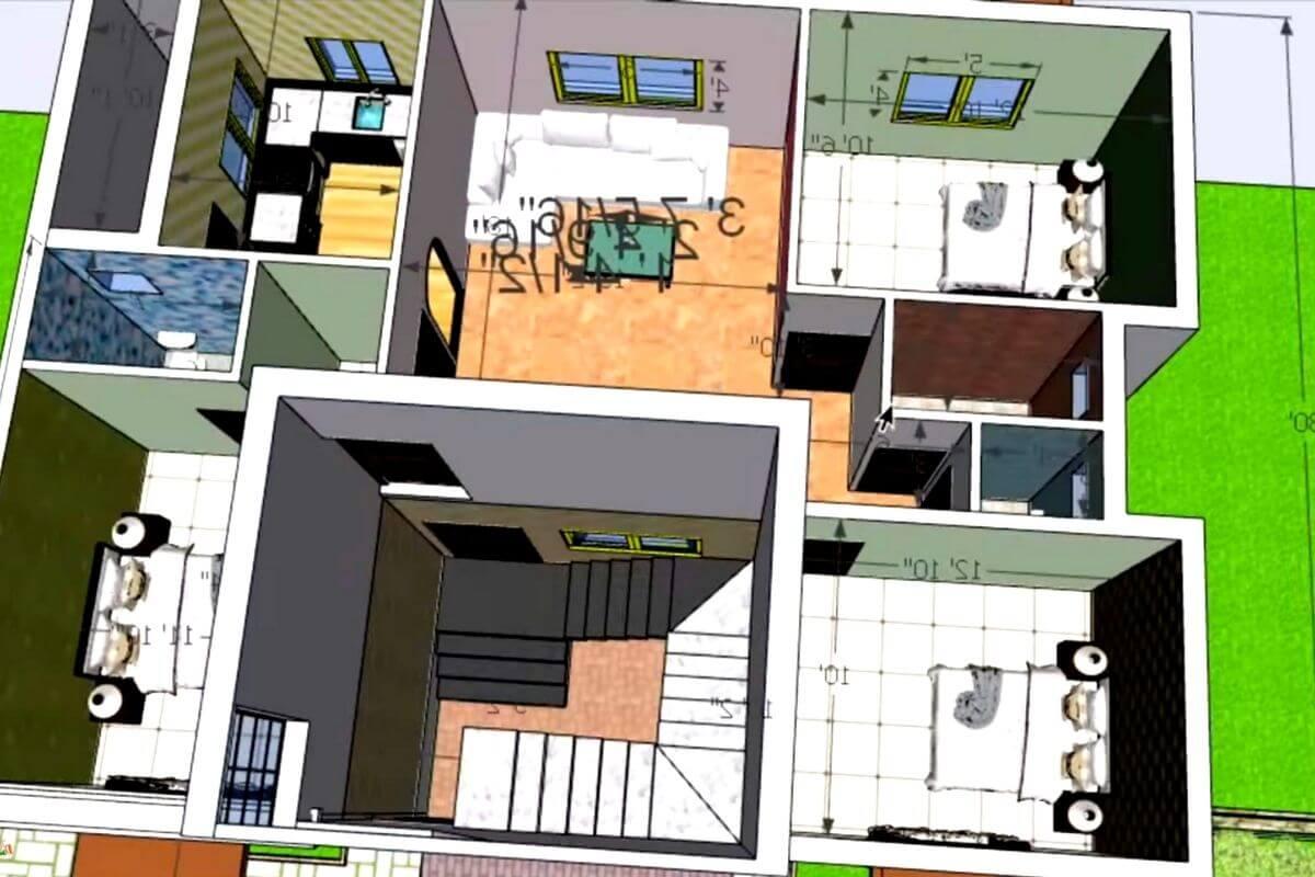 30x40 house plan 3d