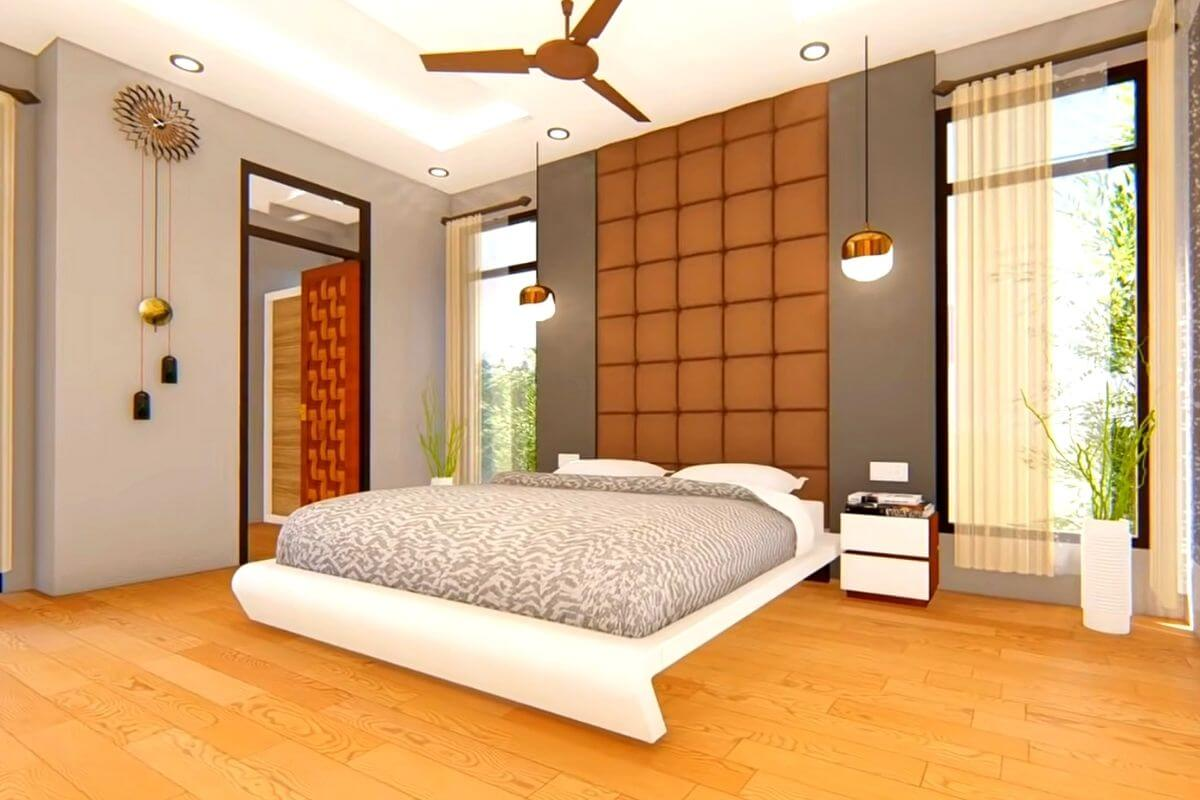 4 BHK House Master bedroom with attach toilet design