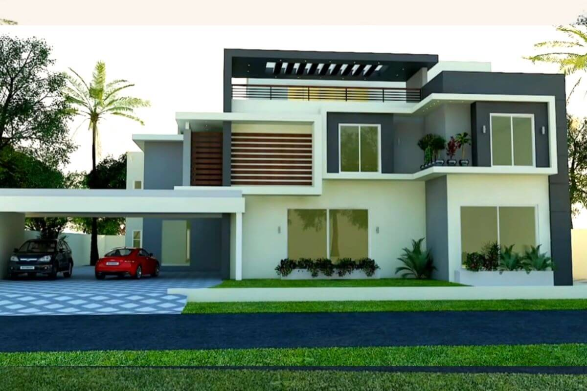 Front Elevation for a Three Story House