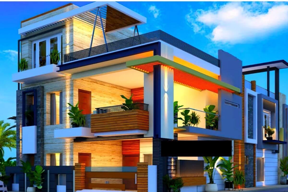 best village house front design images HD