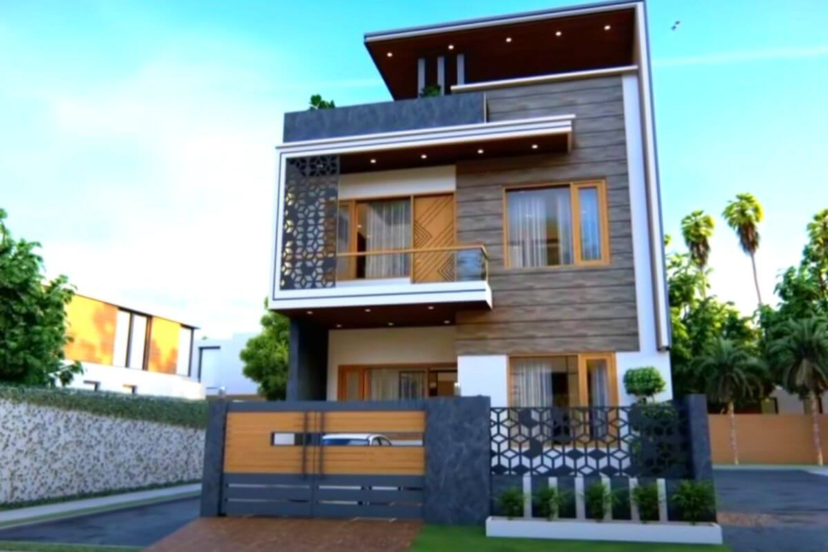 village single floor home front design indian style hd image